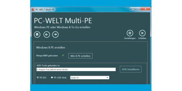 Windows 8 PE ist ein kleines Notfallsystem mit wenigenTools. Um es erstellen zu können, laden Sie das Assessment andDeployment Kit (ADK) auf Ihren Rechner.