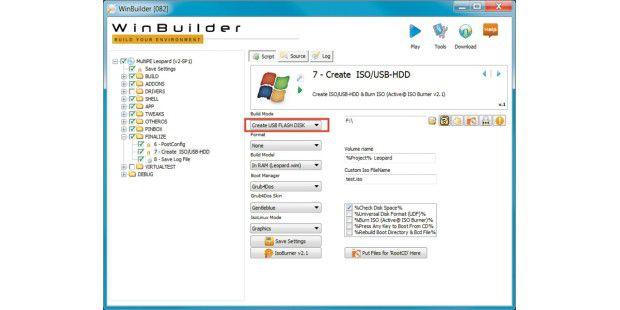 """Im Bereich """"Create ISO/USB-HDD"""" stellen Sie in Winbuilderein, ob Sie eine ISO-Datei für eine CD/DVD erstellen oder dasPE-System auf einen USB-Stick kopieren wollen."""