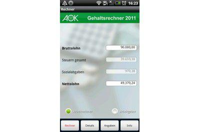 "Android-App ""AOK Gehaltsrechner"""