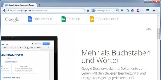 Office in der Cloud: Google Docs