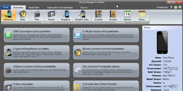 Datenübertragung: iDevice Manager