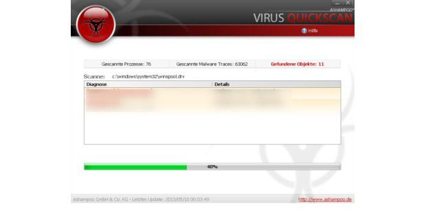 Ashampoo Virus QuickScan, Virus, Spyware, Scanner, Download, gratis