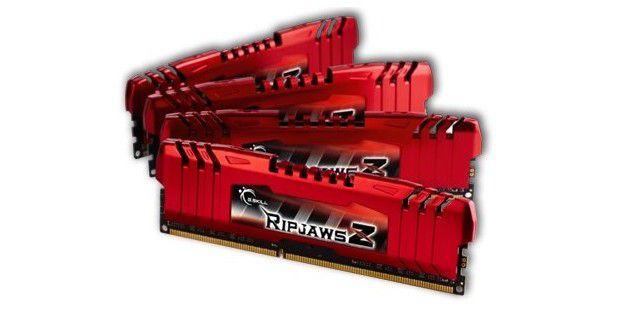Speziell für den neuen Core i7 gedacht: Speicherriegel-KitRipJawsZ von Gskill mit vier Modulen