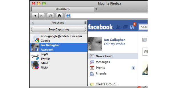 Die Firefox-Erweiterung Firesheep fängt Cookies ab undermöglicht dann beispielsweise den Zugriff auf dasFacebook-Konto.