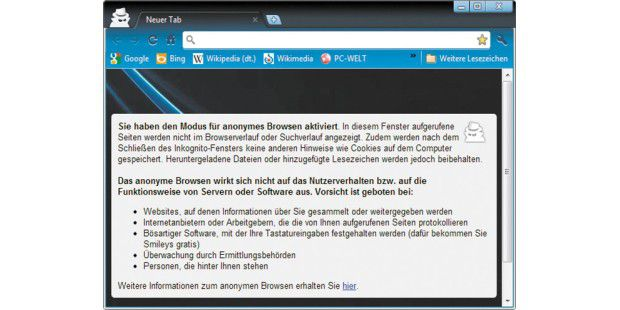 "Der Modus ""Private Browsing"" in Internet-Browsern."
