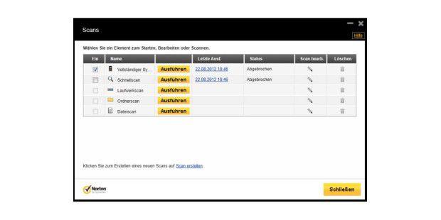 Norton Internet Security 2013 bietet verschiedeneMöglichkeiten für die Suche nach Malware. Hier derbenutzerdefinierte Scan.