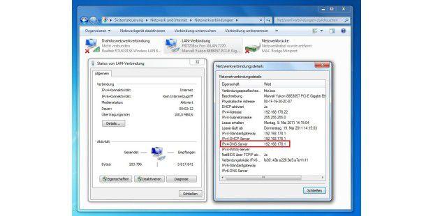 Anzeige des DNS-Servers unter Windows 7