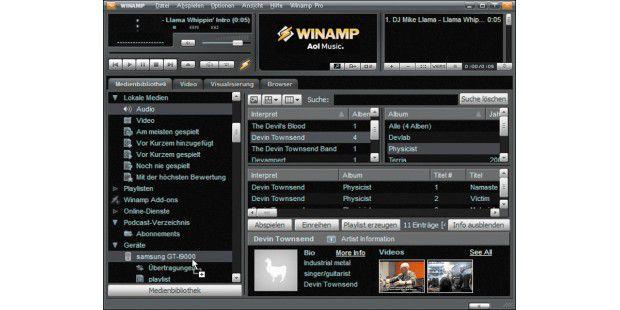 """Wenn Sie unter Windows Winamp installiert und eineMedienbibliothek angelegt haben, dann finden Sie Ihre Musik beieinem Klick auf den Punkt """"Audio"""". Um die Musik auf einAndroid-Gerät zu kopieren, muss dort die Winamp-App installiertsein. Sie können die Stücke dann aus der Winamp-Datenbankübertragen."""
