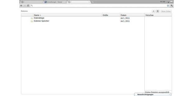 Der Dateimanager auf dem Chromebook bietet wenigMöglichkeiten.