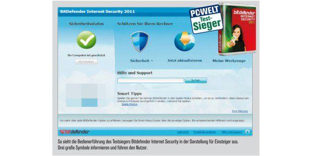So sieht die Bedienerführung des Testsiegers BitdefenderInternet Security aus.