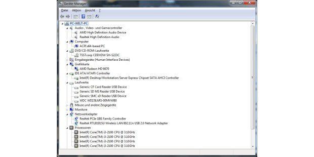 Der Geraete-Manager gibt Auskunft über alleHardware-Komponeneten des Aldi-PC Medion Akoya E2305 D