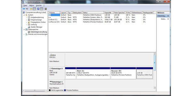 Wie immer viel zu groß: Boot-Partition des Aldi-PC MedionAkoya E2305 D