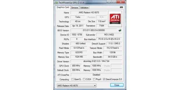 Aldi-PC Medion Akoya E2305 D: GPU-Z verrät Informationenzur Grafikkarte