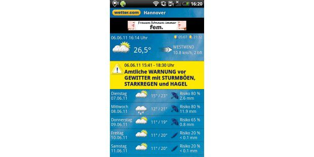 "Android-App ""wetter.com"""