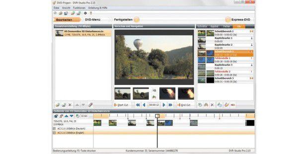 Das Fenster der Software DVR-Studio Pro ist sehr übersichtlich gestaltet.