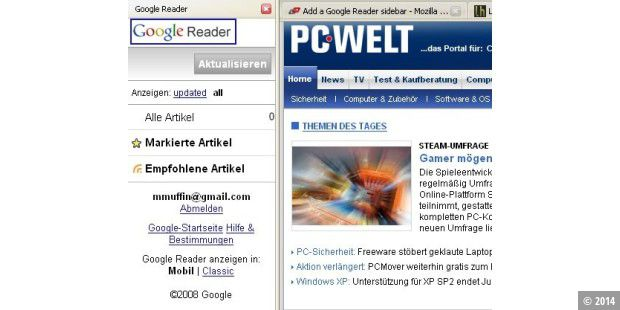 iPhone Google Reader im Firefox