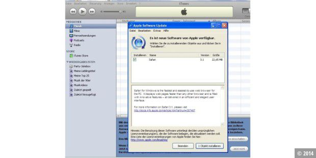 Apple verbreitet Safari per iTunes