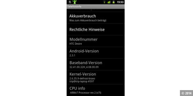 Android 2.3 Gingerbread auf dem HTC Desire - dank Custom Firmware kein Problem.