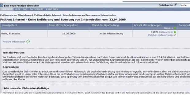 Online-Petition gegen Internet-Zensur
