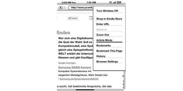 """Einer der nützlichsten Befehle im Kindle-eigenen Browser:""""Artikel-Modus"""" respektive """"Article Mode"""""""