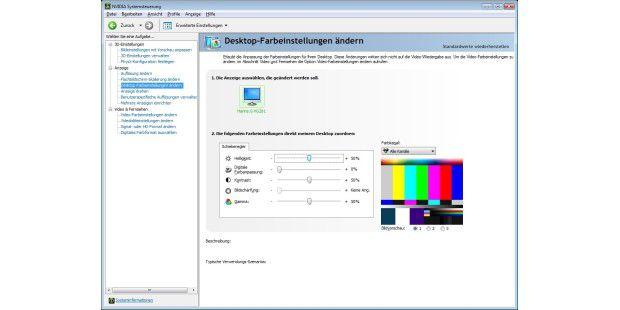 Wenn Sie über das Monitormenü nicht mehr weiterkommen,können Sie die Bildeinstellungen auch im Grafikkarten-Treibervornehmen (hier das Geforce-Menü).