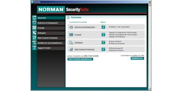 Die aktualisierte Oberfläche der Norman Security Suite
