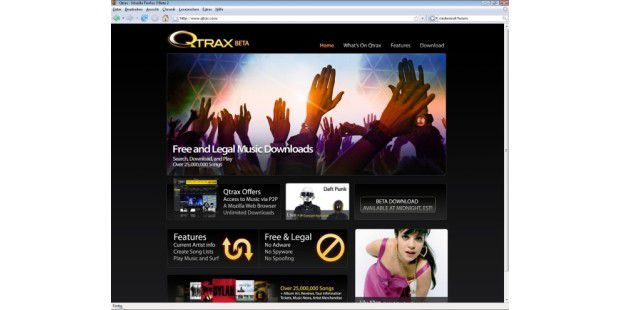 Qtrax.com Screenshot