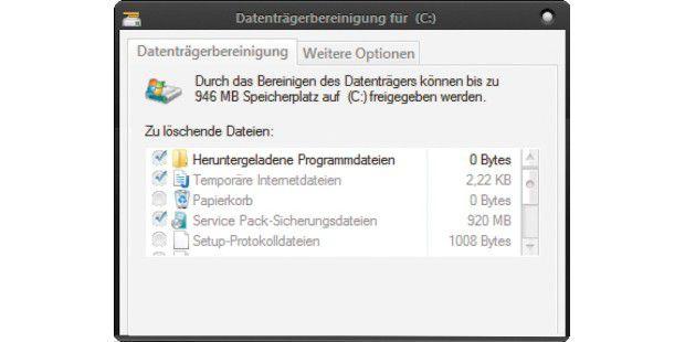 """Wenn Sie in der Datenträgerbereinigung einen Haken bei """"Service Pack-Sicherungsdateien"""" setzen, dann entfernt das Programm die De-Installationsdateien von Service Pack 1."""