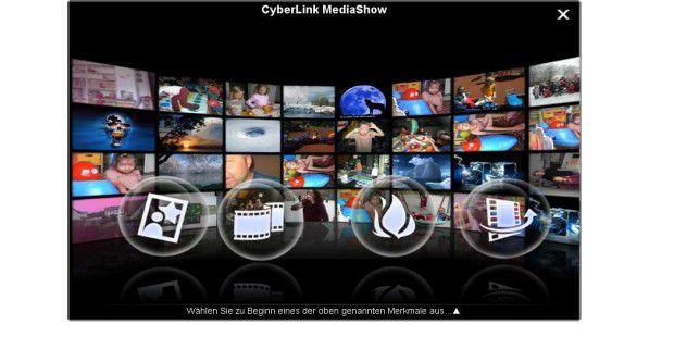 Modern und persönlich: Startfenster von Cyberlink Mediashow 5