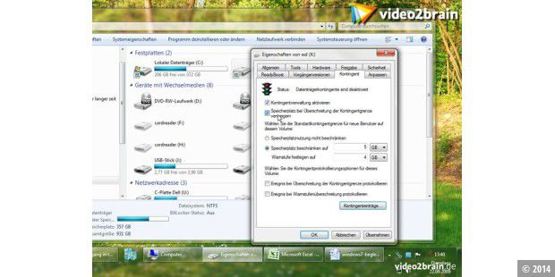 Kontingente unter Windows 7