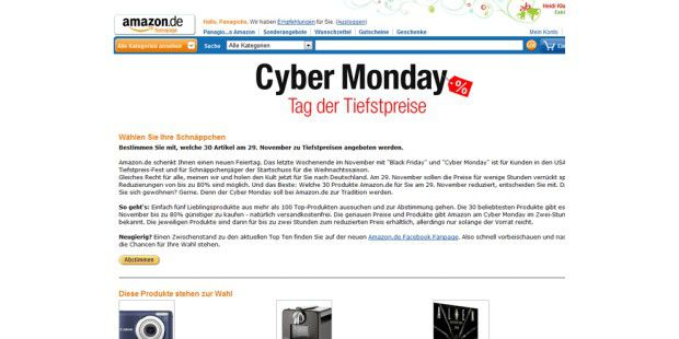 Amazon.de zelebriert den Cyber Monday in Deutschland