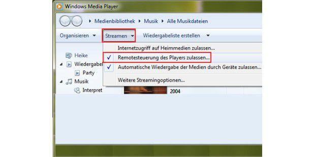 """Bevor Sie die Medienwiedergabe eines anderen Windows-7-PCsfernsteuern können, müssen Sie auf ihm unter """"Streamen"""" die""""Remotesteuerung des Players zulassen...""""."""