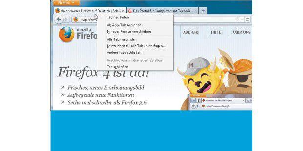 Ein Klick mit der rechten Maustaste auf einen beliebigenRegister-Tab im Internet-Browser öffnet ein Menü, das die Befehlefür die Tab-Verwaltung enthält – hier beim Firefox 4.