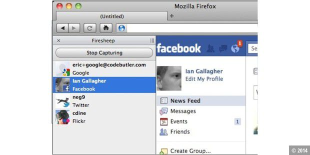 Firefox-Add-On Firesheep (Quelle: Eric Butler)