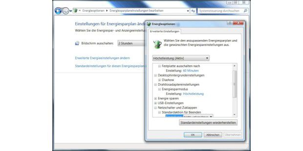 Die Energieoptionen von Windows 7