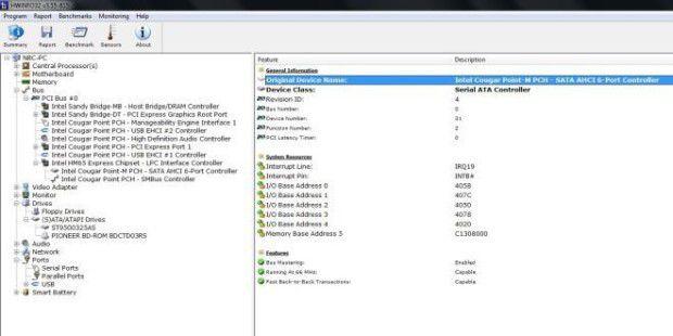 Acer Aspire 7750G-2634G50Bnkk: SATA 6 Port Controller überHWiNFO ausgelesen. Welche Laufwerke an welchen Ports angebundensind, ist nicht erkennbar.