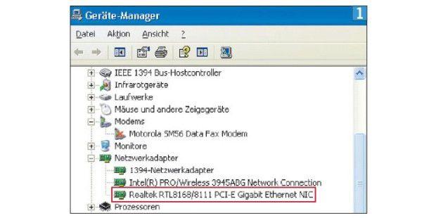 Ihre Netzwerkschnittstelle entdecken Sie im Geräte-Managervon Windows