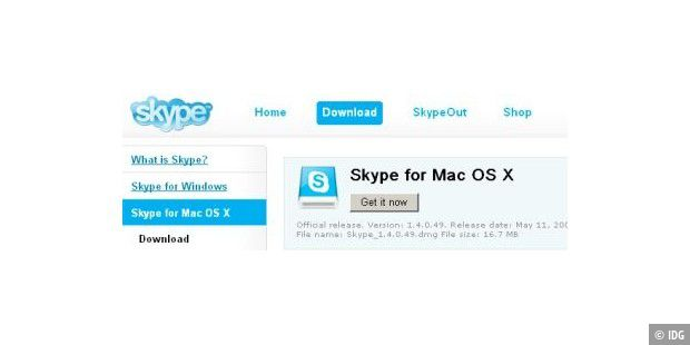 Skype Mac OS X Version 1.4.0.49