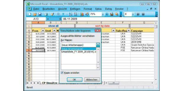 Excel Arbeitsblatt Kopieren In Andere Arbeitsmappe : Tabelle mit steuerelementen kopieren pc welt