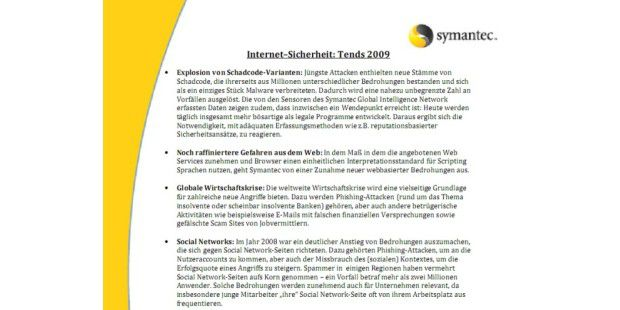 Symantec Sicherheits-Trends 2009