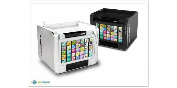 Lässiger Wohnzimmer PC mit abnehmbaren Touchscreen. Lässig, oder? (Foto: Soundgraph)
