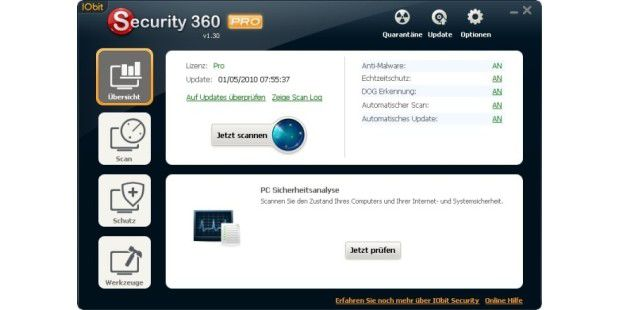 Das Hauptfenster von IOBit Security 360 Pro