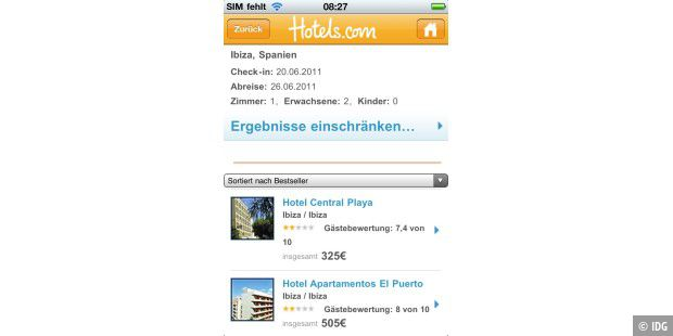 "iPhone-App ""Hotels.com"""