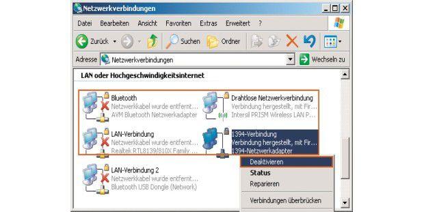 """Zum Spektrum der """"Netzwerkverbindungen"""" gehörte beiWindows XP auch noch der Firewire-Anschluss. Deaktivieren lassensich unbenutzte Adapter mit einem Klick der rechten Maustaste unddem Menübefehl """"Deaktivieren""""."""