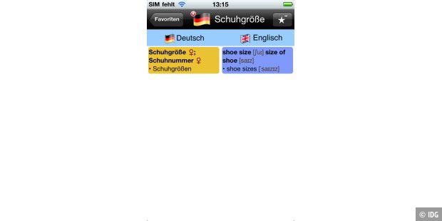 "iPhone-App ""Deutsch-Englisch Wörterbuch (English-German), Nifty Words"""