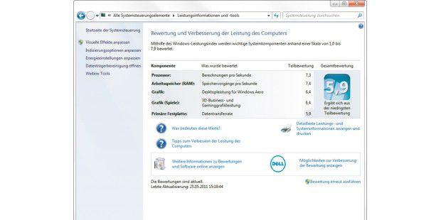 Über die Befehle im linken Teil können Sie Windows einfachbeschleunigen. Dann müssen Sie allerdings auf einen Teil dergrafischen Effekte verzichten. Diese Gesamtbewertung derPC-Leistung richtet sich stets nach dem schlechtesten Wert aus denEinzeltests. Bei diesem PC ist die Festplatte die langsamsteKomponente.