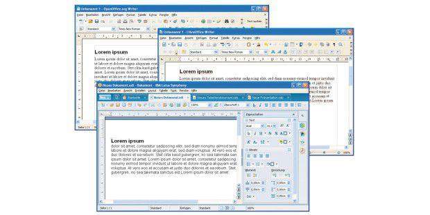 Open Office, Libre Office und Lotus Symphony haben zwarden gleichen technischen Unterbau, unterscheiden sich aberoptisch.