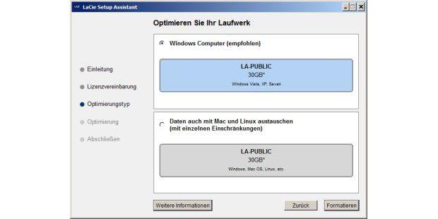 Einrichten des LaCie FastKey 30GB mit einem komfortablenSoftware-Assistenten.