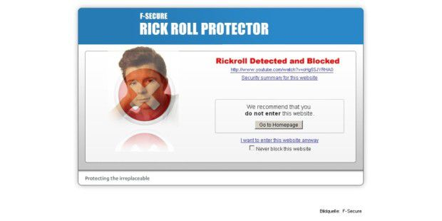 F-Secure Rick Roll Protector