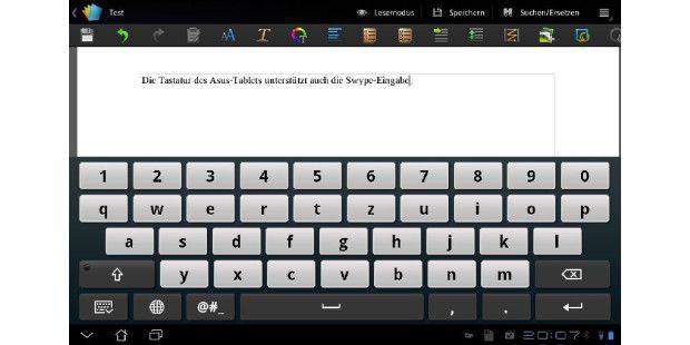Ziffernzeile und Swype-Eingabe: Die Tastatur desTransformer macht Tippen auf dem Tablet einfacher.